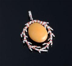 Melo Pearl, Diamond & Sapphire Pendant P=25.52cts + D=0.64cts Platinum (48 x 32mm)