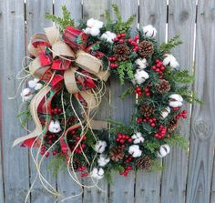 Primitive Christmas / Holiday Wreath  Cotton di HornsHandmade