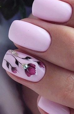 Nail art is a very popular trend these days and every woman you meet seems to have beautiful nails. It used to be that women would just go get a manicure or pedicure to get their nails trimmed and shaped with just a few coats of plain nail polish. Spring Nail Art, Nail Designs Spring, Nail Art Designs, Nails Design, Nail Designs With Gems, Cute Spring Nails, Flower Nail Designs, Spring Art, Pink Design