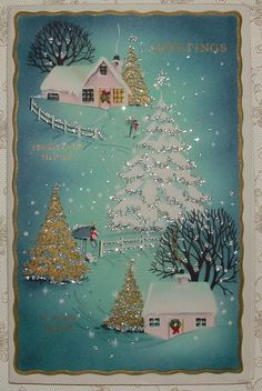 Glittered, Gold - Pink Houses in the Snow-1950's Vintage Christmas Greeting Card