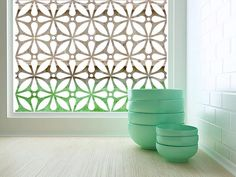 Decorative Window and Glass Film - Static Cling or Removable Adhesive / Geo Flora
