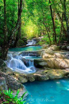 Tropical Blue Waterfalls is part of Beautiful waterfalls - Beautiful Waterfall in Thailand tropical forest Beautiful Waterfalls, Beautiful Landscapes, Beautiful Scenery, Beautiful Nature Wallpaper, Natural Scenery, Natural Waterfalls, Nature Pictures, Beautiful Pictures, Pics Of Nature