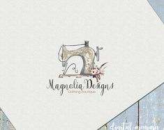 Premade Magnolia ~Floral Sewing Logo Design, Handmade, Seamstress Logo, Watercolor Sewing Machine Logo
