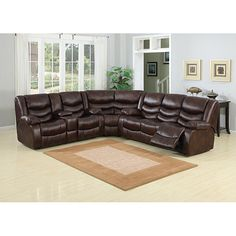 Beau A C Pacific Pulsar Leather Reclining Sectional   Modern   Sectional Sofas    By Hayneedle