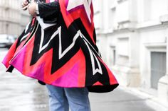 I have fallen in love with this colorful poncho by Salvatore Ferragamo.I feel like it's upgrading any outfit and brings a little life to gloomy winter days. Winter Day, Salvatore Ferragamo, Turning, Cape, Color, Outfits, Fashion, Mantle, Moda