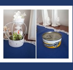 Buenas Ideas con Mary: Reciclar Lata de tuna en una hermosa jaula Buenas Ideas, Diy Cans, Compost, Plant Hanger, Canning, Decoration, Home Decor, Recycled Tin Cans, Sweetie Belle