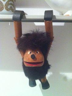 Vintage 70s Articulated Wooden Monkey Gonk