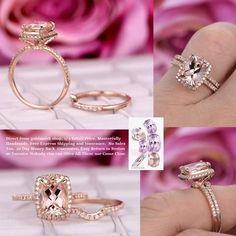 Cushion Morganite Engagement Ring Sets Pave Diamond Wedding 14K Rose Gold 7x9mm