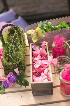Pretty pink and green earthy decor from Vintage Enchanted Garden Birthday Party at Kara's Party Ideas. See this and more at karaspartyideas.com!