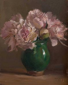 "Julian Merrow-Smith - ""Peonies in a provençal vase"" (2014) | by Mia Feigelson Gallery"