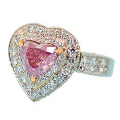 Rare Fancy Intense Purple Pink Diamond Ring<3