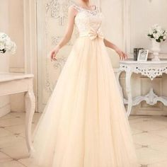 Lovely champange tulle long prom dress, #promdresses, #champagnepartydresses, #cutepromdress