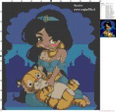 Little Jasmine with tiger cross stitch pattern