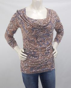 578f570e5c9c4a CAbi Small purple PinK Top Lola Tee #187 Draped Cowl Neck Ruched Long  Sleeve