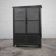 The Armoire, made entirely out of mild steel and a great statement piece to add to any room in your home or office. Key stats: - 6 ft. tall and 325 lbs - Built in Houston, TX USA - Shipped free to those in the lower 48 states. Cama Industrial, Modern Industrial Furniture, Metal Furniture, Unique Furniture, Vintage Industrial, Furniture Making, Industrial Design, Home Office Storage, Locker Storage