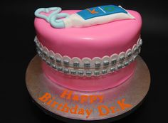 A very Happy Birthday to the best orthodontist ever, Kravitz Orthodontics !! Enjoy a sweet mouthful of delicious vanilla cake and Oreo filling, wrapped in shiny silver braces. Afterwards, he can brush with his own company's toothpaste! ~~Glass Slipper Cakes