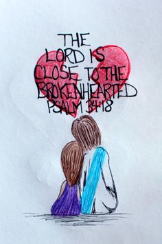 Scriptural Doodle Art of Jesus comforting the Brokenhearted