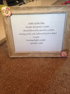 Order of the day sign