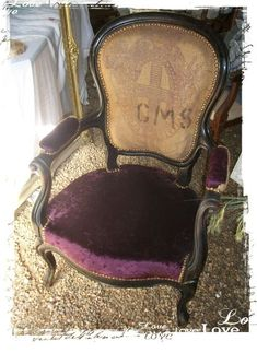 another chair upholstered with a grain sack