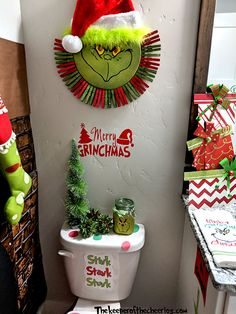 Grinch Bathroom Ideas, Grinch bathroom, how the grinch stole christmas, Christmas bathroom, Christma Grinch Christmas Decorations, Grinch Christmas Party, Christmas Themes, Christmas Ornaments, Christmas Christmas, Grinch Party, Christmas Island, Grinch That Stole Christmas, Snoopy Christmas