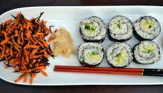 Simple Avocado-Cucumber Sushi Rolls, Carrot-Hijiki Salad