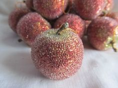 Lot Of 16 Frosted/Sugered Red Apples Christmas by AuntSuesVintage, $9.99