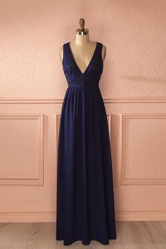 Balda Ocean - Navy lace and veil low-cut maxi dress