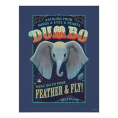 Make your decor soar with this vintage styled Dumbo poster. Frame it, tack it or tape it to your wall to bring the magic of the flying elephant into your x Flying Elephant, Cute Elephant, Poster Disney, Dumbo Movie, Disney Frames, Poster Wall, Poster Prints, Retro, Circus Art