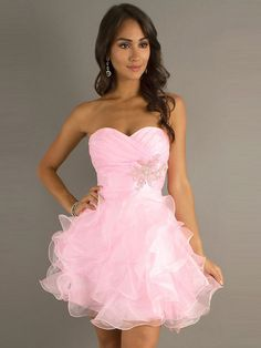A-line Sweetheart Sleeveless Short/Mini Organza Cheap Party Dresses/Cheap Homecoming Dress #FD005