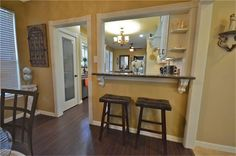 farmhouse kitchen with pass through breakfast bar - Google Search