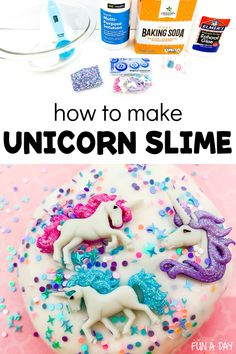 A sparkly unicorn slime for all the unicorn lovers out there! This DIY slime recipe is super easy and uses contact solution - no borax needed! There are two different recipe options included. Early Learning Activities, Sensory Activities Toddlers, Infant Activities, Sensory Play, Mermaid Crafts, Unicorn Crafts, Nursery Rhyme Theme, Nursery Rhymes, Fairy Tale Theme