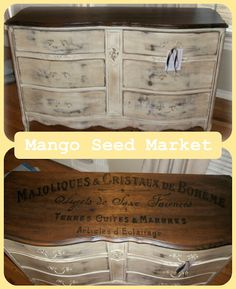 $425 - Antique  Dresser or Buffet with French Typography hand painted on top.