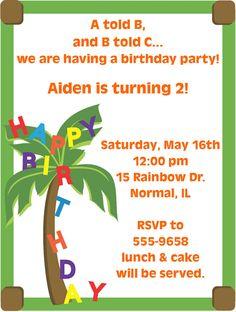 2nd birthday alphabet thank you note card birthdays note and happy birthday alphabet coconut tree birthday party invitations stopboris Choice Image