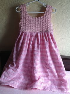 Ravelry: Project Gallery for How to Crochet a Child's Dress - Crochet yoke and fabric skirt pattern by HGTV