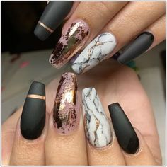 30 Nail Art Ideas to spice up your manicure - Esther Adeniyi Marble Nail Designs, Marble Nail Art, Nail Art Designs, Nails Design, Black Marble Nails, Black Gold Nails, Marble Nail Polish, Gold Marble, Cute Nails