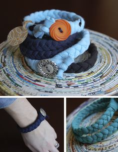 Cotton braided bracelets made from 100% cotton t-shirts. Fun & easy DIY!
