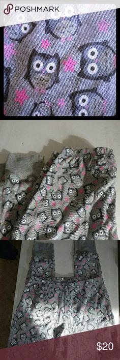 NWT OWL PRINT THERMAL PJ PANTS Super Cute !! NEW Wear as PJ's or Thermal Pants rebel Intimates & Sleepwear Pajamas