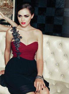 Embellished One Shoulder Red and Black Dress,  Dress, one shoulder dress  prom dress, Chic