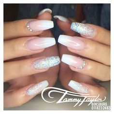 French fade nails Crystals ❤ liked on Polyvore featuring beauty products and nail care