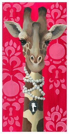 Accessories are this towering giraffe's best friend. Shop this fashionable safari pal and more from the talented Heather Gauthier. Our canvas wall art and art prints are proudly printed in the USA using the coveted giclée method. Canvas Wall Art, Wall Art Prints, Collages, Giraffe Painting, Pen And Watercolor, Animal Heads, Animal Party, Painting Inspiration, Illustration Art