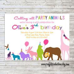Wild Party Animals on Parade custom photo birthday party invitation - digital file on Etsy, $12.00