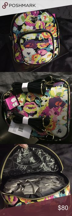 New Betsey Johnson mini convertible bag Nwt cute Betsey Johnson mini bag. Floral print. No trades. Reasonable offers. Betsey Johnson Bags Backpacks