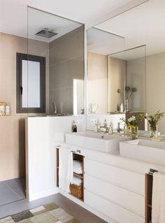 Amazing And Gorgeous Bathroom Decoration Ideas You Must Love; Beige Bathroom, Yellow Bathrooms, Bathroom Interior, Bathroom Storage, Bathroom Layout, Modern Bathroom Design, Bathroom Ideas, 2 Sink Vanity, Floating Bathroom Vanities