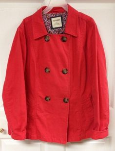 VTG Womens Old Navy Bright Pink Red Denim Double Button Up Jacket XL X Large EUC #OldNavy #JeanJacket