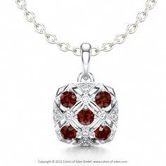 Romantic Pendant SEDUCTION with Garnets in Platinum #pendant