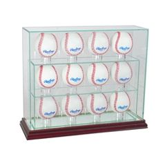 Our Twelve Baseball Upright Display Case is made of UV Protected glass and mirror and supported by our real wood moulding.  It is the perfect display case to display your 12autographed baseballs.  #baseball #MLB #collection #memorabilia #collectible #team #display #displaycase #PerfectCases