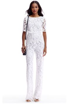 DVF Kendra Embellished Open Back Jumpsuit White Long Sleeve Jumpsuit, Sequin Jumpsuit, Modest Fashion, Hijab Fashion, Fashion Outfits, Women's Fashion, Cocktail Jumpsuit, Lace Pants, Embellished Gown