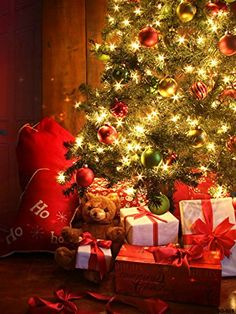 Christmas Photography Back Drop Red Wood Wall Xmas Tree Gift Ted Bear Background For Baby Children Party Decorating With Christmas Lights, Christmas Decorations, Christmas Ornaments, Holiday Decor, Christmas Presents, Ornaments Ideas, Tree Decorations, Christmas Photography Backdrops, Christmas Backdrops