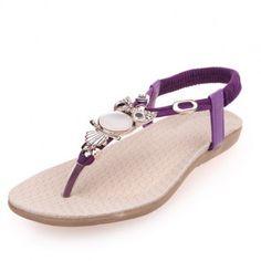 Purple Summer Flip Flops With Owl