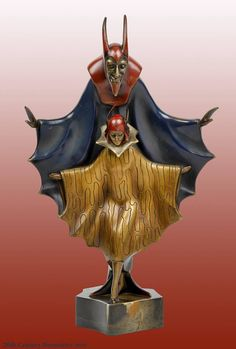 """An Art Deco cold-painted bronze by Roland Paris """"Mephistopheles"""", France circa 1930."""